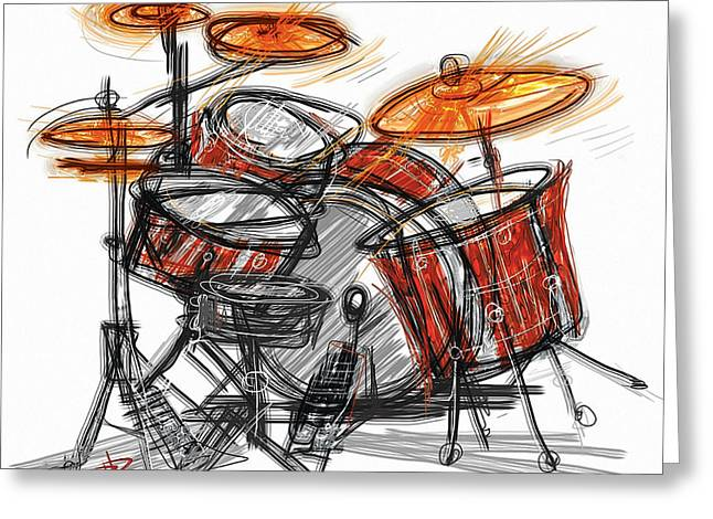 Drum Kit Greeting Cards - Boom BaBa Boom Greeting Card by Russell Pierce