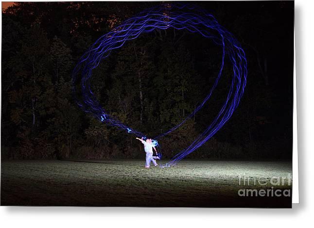 Circular Motion Greeting Cards - Boomerang At Night Greeting Card by Ted Kinsman