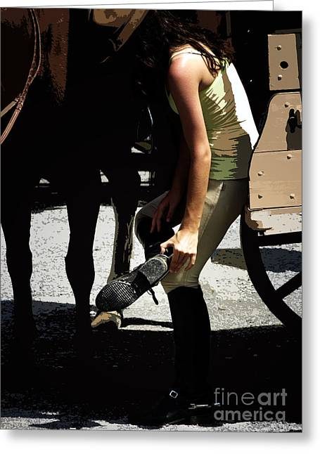Horseback Riding Digital Art Greeting Cards - Boot Check  Greeting Card by Steven  Digman