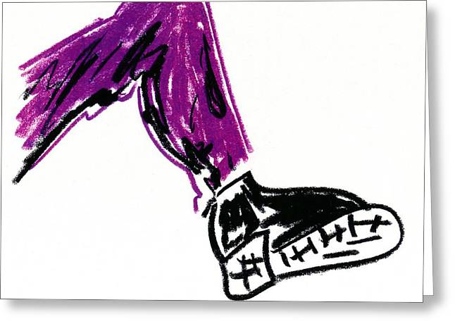 Black Boots Drawings Greeting Cards - Boot Greeting Card by Patrick Morgan