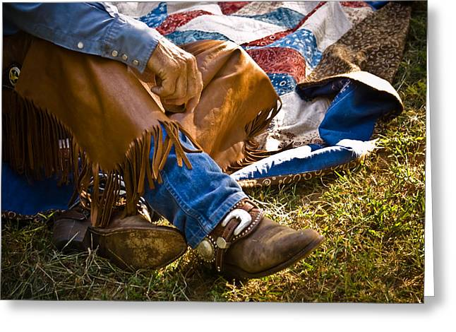 Western Photographs Greeting Cards - Boots and Quilt on the trail Greeting Card by Toni Hopper
