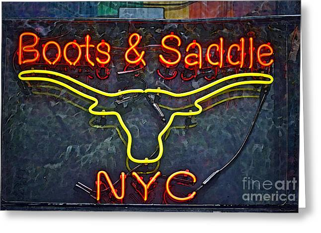Boots Greeting Cards - Boots and Saddle NYC Greeting Card by Gwyn Newcombe