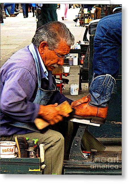 Men Shoes Greeting Cards - Boots Getting A Shine Greeting Card by Olden Mexico