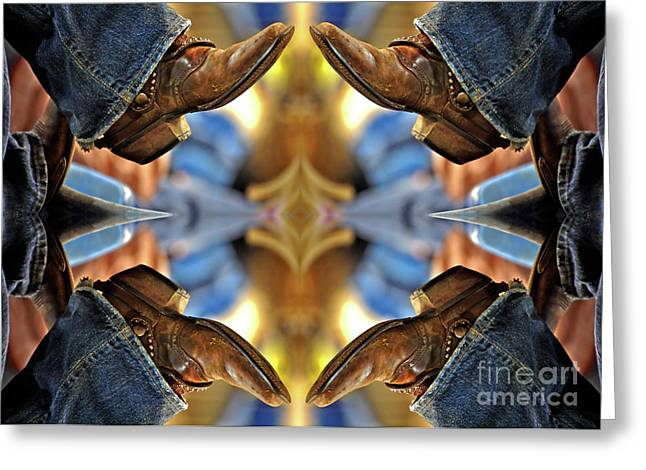 Work Boots Greeting Cards - Boots Kaleidoscope Greeting Card by Joan Carroll