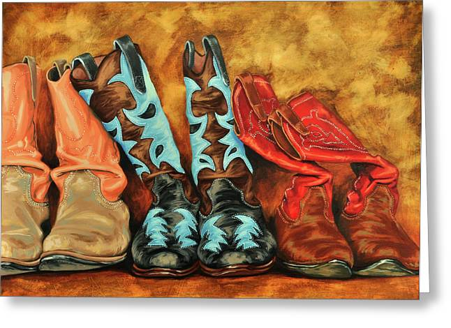 Western Greeting Cards - Boots Greeting Card by Lesley Alexander
