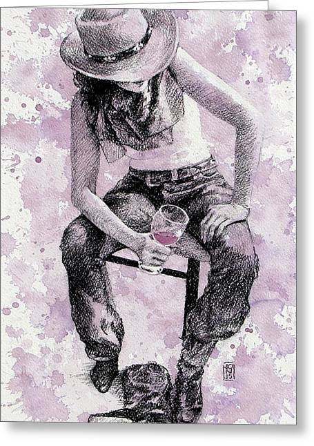 Debra Jones Greeting Cards - Boots Off   Evening On Greeting Card by Debra Jones