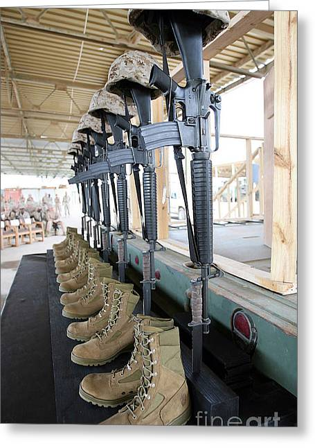 Bayonet Photographs Greeting Cards - Boots, Rifles, Dog Tags, And Protective Greeting Card by Stocktrek Images