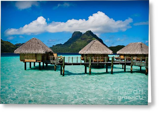 Tahiti Greeting Cards - Bora Bora Bunaglows Greeting Card by Doug Sturgess