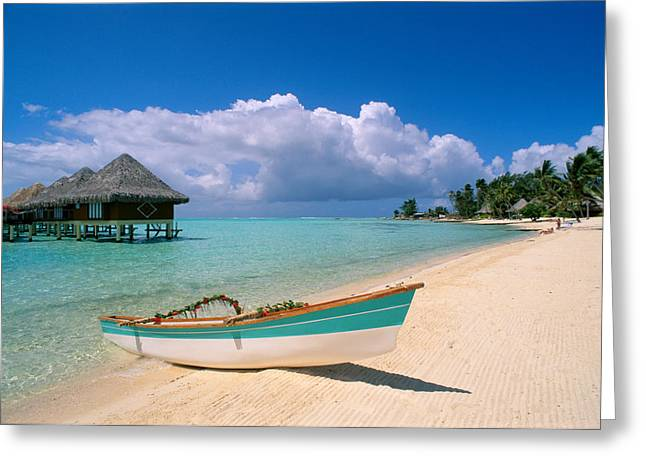 Bungalow Greeting Cards - Bora Bora, Hotel Moana Greeting Card by Greg Vaughn - Printscapes