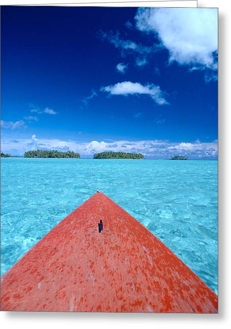 Canoe Waterfall Greeting Cards - Bora Bora, View Greeting Card by William Waterfall - Printscapes