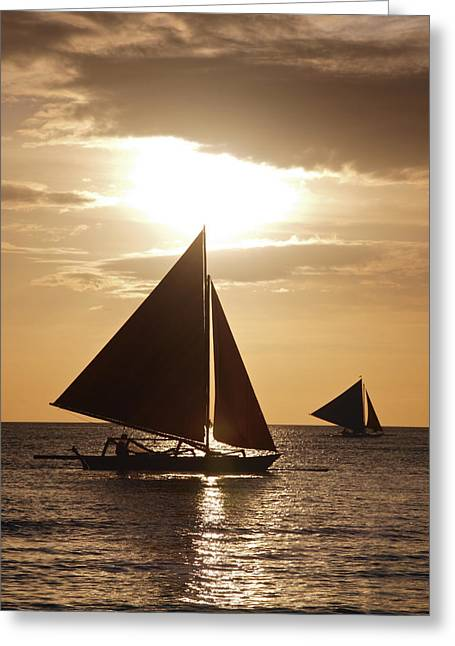 Sailboat Ocean Greeting Cards - Boracay Philippines A 169 Greeting Card by Per Lidvall