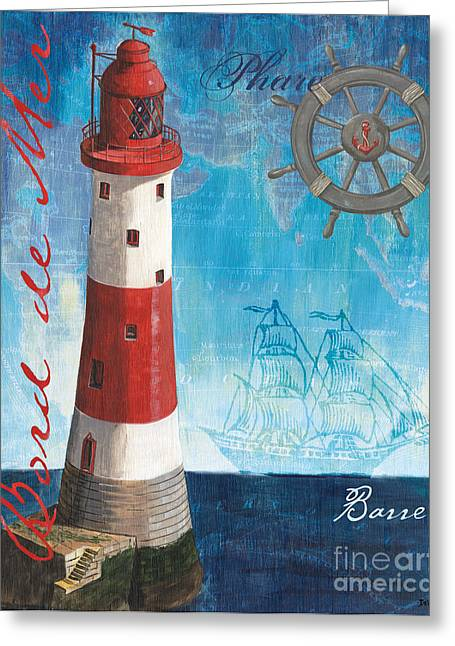 Green Boat Greeting Cards - Bord de Mer Greeting Card by Debbie DeWitt