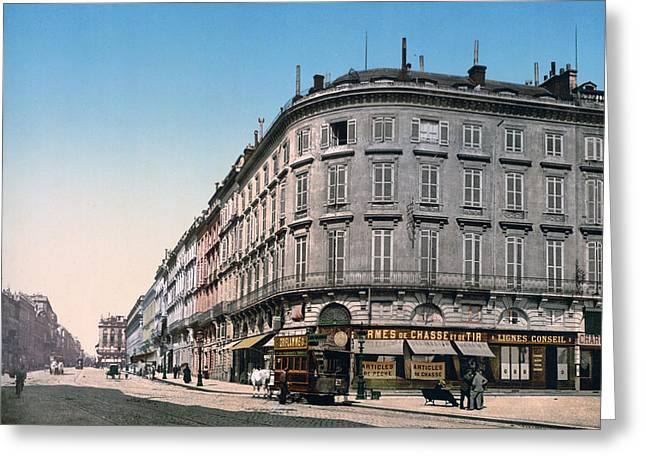 Southern France Greeting Cards - Bordeaux - France - Rue Chapeau Rouge from the Palace Richelieu Greeting Card by International  Images