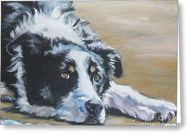 Collie Greeting Cards - Border Collie Sea Greeting Card by Lee Ann Shepard