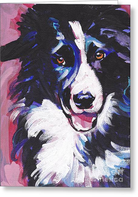 Collie Paintings Greeting Cards - Border Patrol Greeting Card by Lea