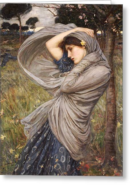 North Greeting Cards - Boreas Greeting Card by John William Waterhouse