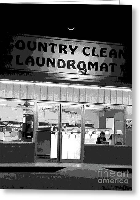Children Framed Prints Greeting Cards - Bored Flat At The Laundromat Greeting Card by Joe Jake Pratt