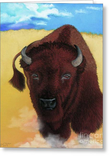 Cattle Pastels Greeting Cards - Born of Thunder Greeting Card by Tracy L Teeter