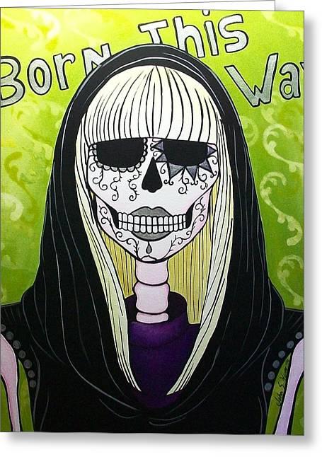 Lady Gaga Paintings Greeting Cards - Born this way  Greeting Card by John S Huerta