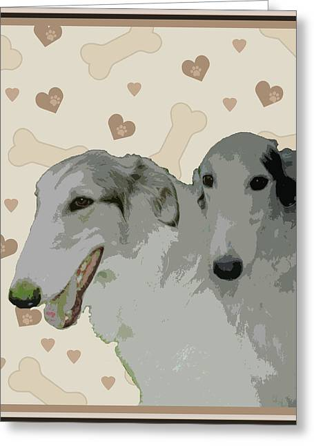 Borzoi Greeting Card by One Rude Dawg Orcutt