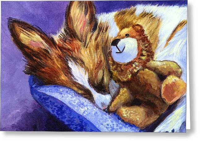 Stuffed Toy Greeting Cards - Bos and the Lion - Papillon Greeting Card by Lyn Cook