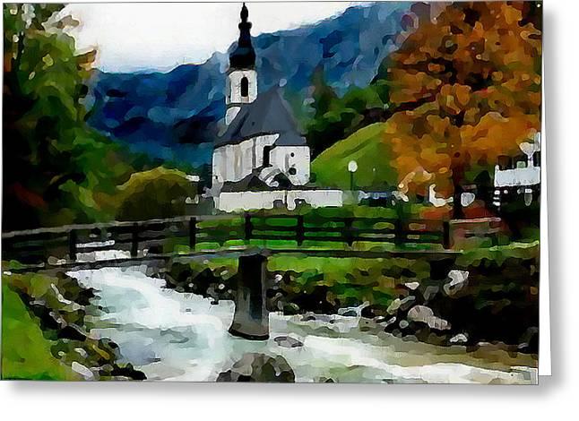 Bosnian Country Church Greeting Card by Jann Paxton