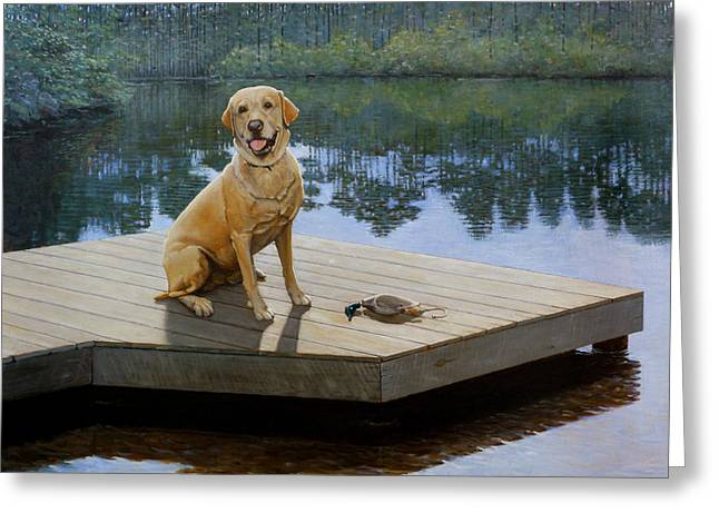 Yellow Lab Greeting Cards - Boss Greeting Card by Doug Strickland