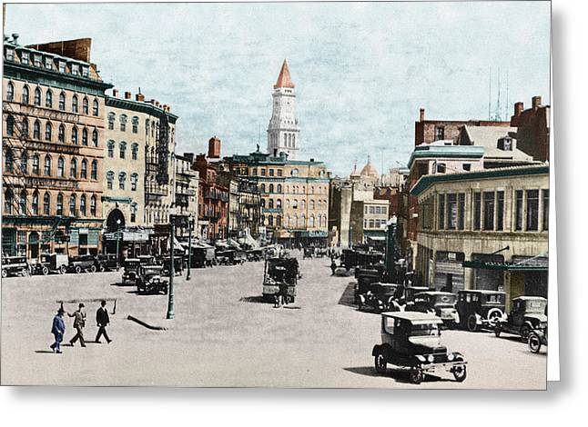 American Automobiles Greeting Cards - Boston: Bowdoin Square Greeting Card by Granger