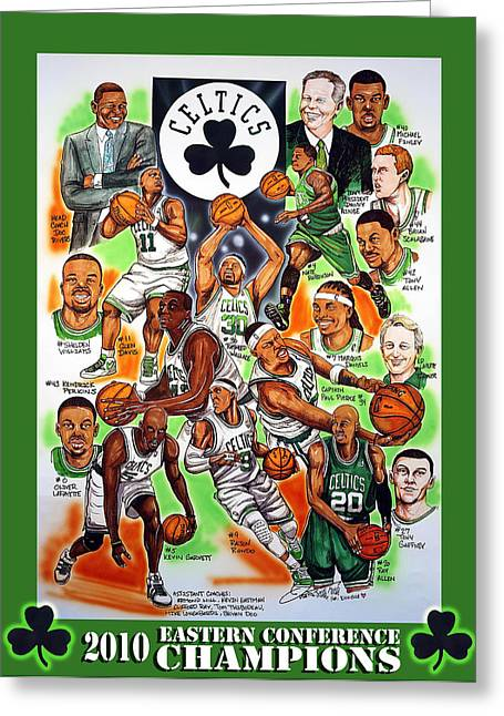 Nba Basketball Greeting Cards - Boston Celtics Eastern Conference Champions Greeting Card by Dave Olsen
