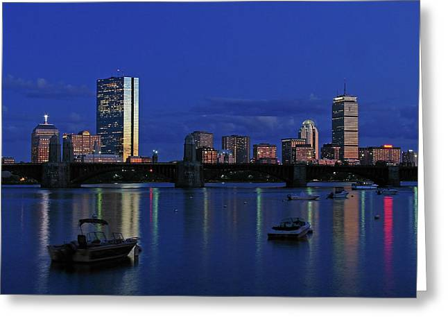 Boston City Lights Greeting Card by Juergen Roth