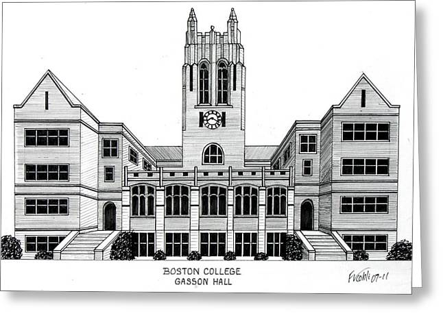 College Campus Buildings Drawings Greeting Cards - Boston College Greeting Card by Frederic Kohli