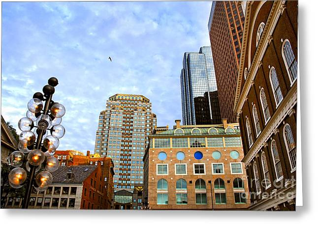 Corporate Business Greeting Cards - Boston downtown Greeting Card by Elena Elisseeva