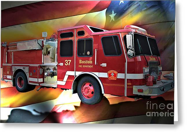 Fireman Posters Greeting Cards - Boston Engine 37 Greeting Card by Tommy Anderson
