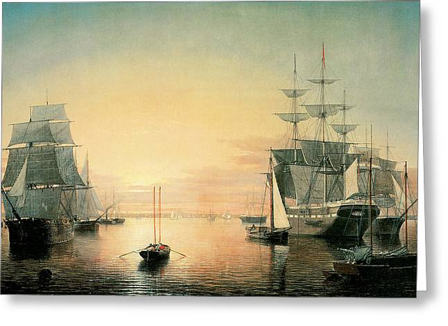 Sailing Ship Greeting Cards - Boston Harbor Greeting Card by Fitz Hugh Lane