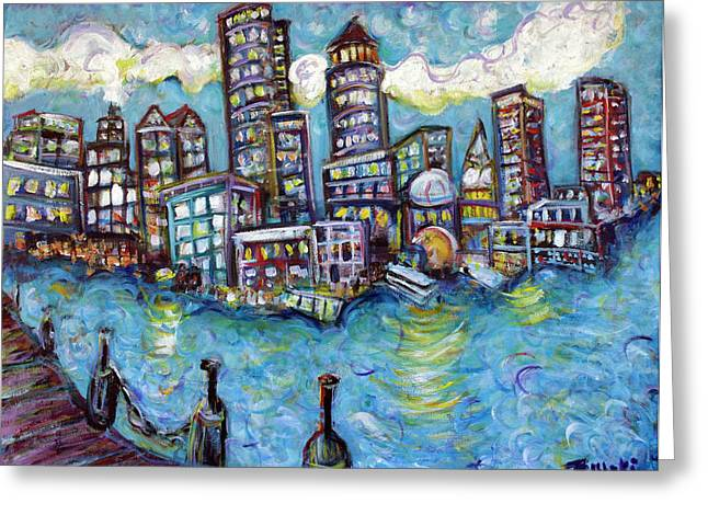Red Sox Paintings Greeting Cards - Boston Harbor Greeting Card by Jason Gluskin