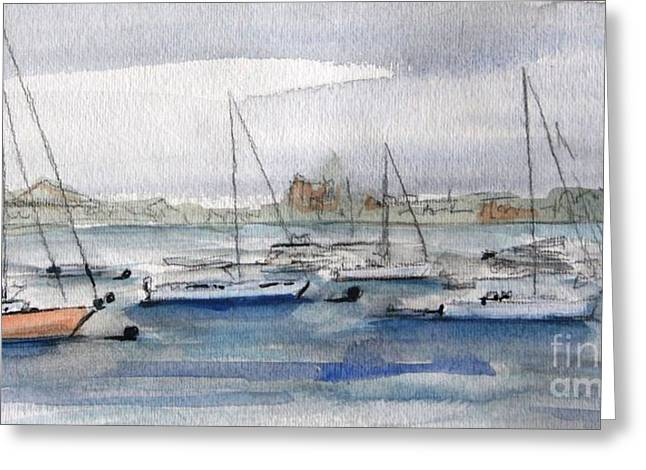 Sailboats In Harbor Paintings Greeting Cards - Boston Harbor  Greeting Card by Julie Lueders
