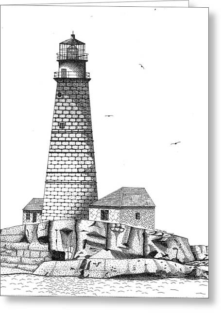 Boston Ma Drawings Greeting Cards - Boston Harbor Lighthouse Greeting Card by Tim Murray
