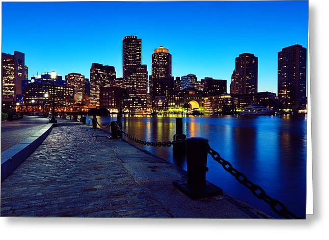 Light Chains Greeting Cards - Boston Harbor Walk Greeting Card by Rick Berk