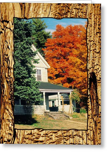 Massachusetts Pyrography Greeting Cards - Boston Home Fall 1982 Greeting Card by Noah Brooks