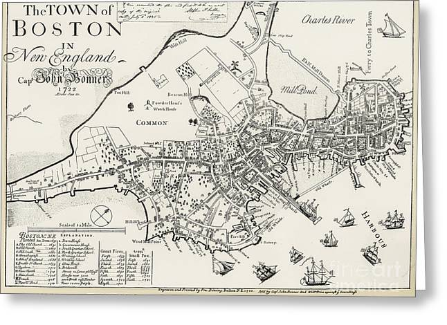 Charles River Greeting Cards - Boston Map, 1722 Greeting Card by Granger
