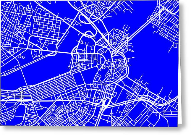 Geographical Locations Greeting Cards - Boston Massachusetts City Map Streets Art Print   Greeting Card by Keith Webber Jr