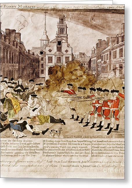 Paul Revere Greeting Cards - Boston Massacre 1770 Greeting Card by Omikron