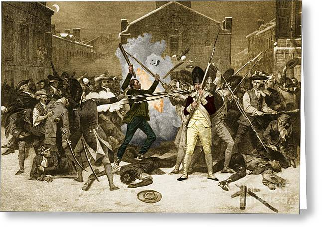 Alonzo Greeting Cards - Boston Massacre, 1770 Greeting Card by Photo Researchers