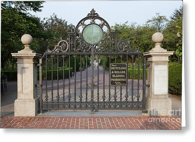 Portal Greeting Cards - Boston Public Garden Gate and Haffenreffer Walk Greeting Card by Clarence Holmes