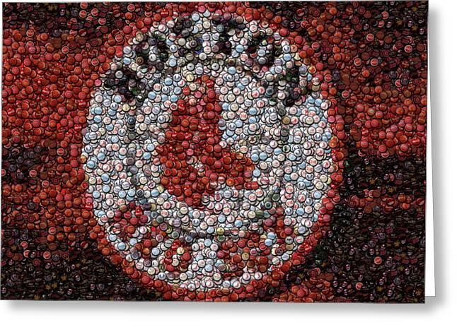 Bottlecap Greeting Cards - Boston Red Sox Bottle Cap Mosaic Greeting Card by Paul Van Scott