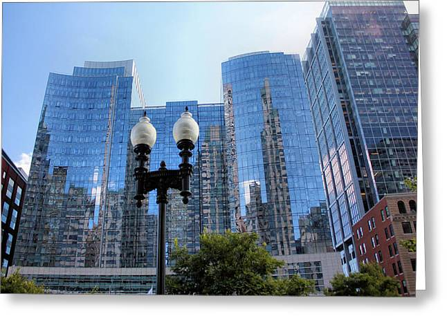 Streetlight Greeting Cards - Boston Reflections Greeting Card by Kristin Elmquist