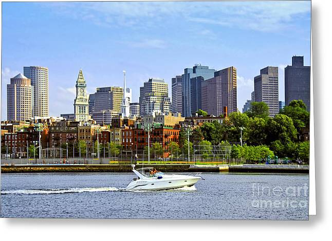 Glass Wall Greeting Cards - Boston skyline Greeting Card by Elena Elisseeva