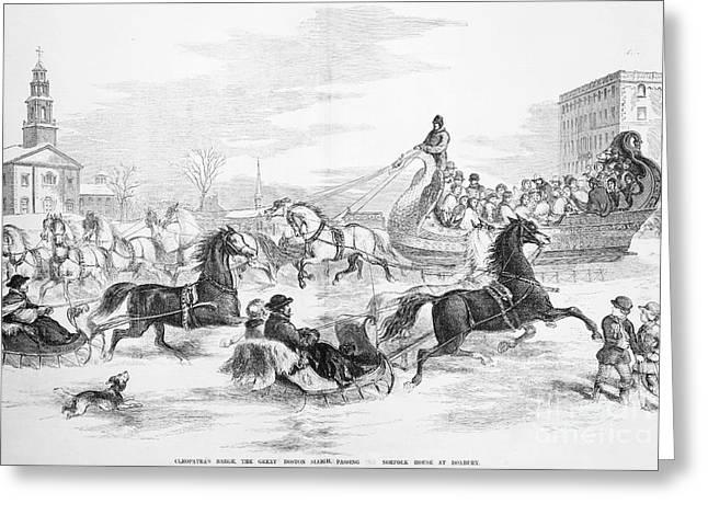 Roxbury Greeting Cards - Boston: Sleighing, 1856 Greeting Card by Granger