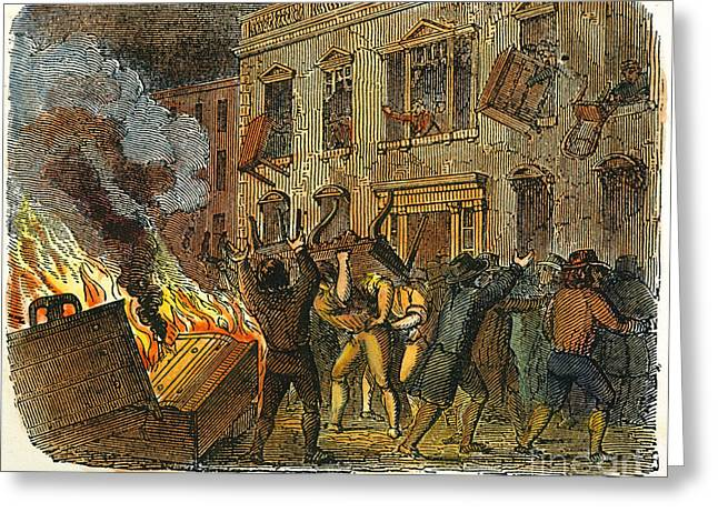 Protesters Greeting Cards - Boston: Stamp Act Riot, 1765 Greeting Card by Granger