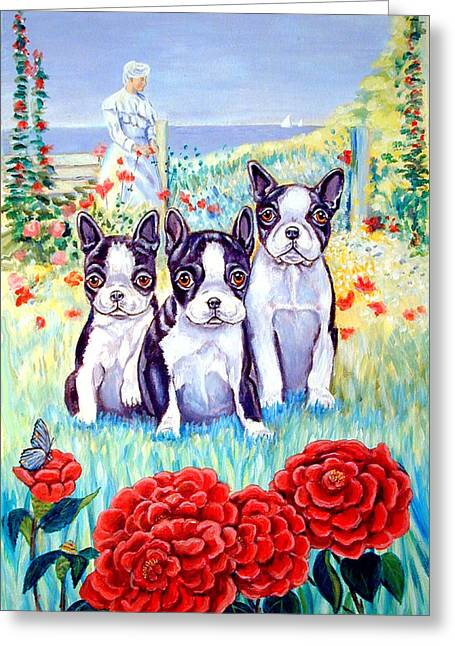 Boston Garden Greeting Cards - Boston Tea Party - Boston Terrier Dog Greeting Card by Lyn Cook
